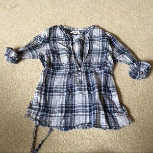 Hollister Sheer Plaid popover shirt - small